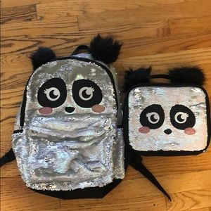 Justice panda flip sequin backpack and lunchbox